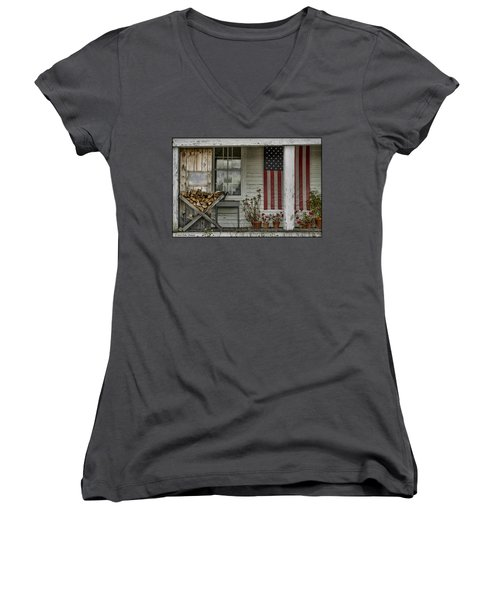 Old Apple Orchard Porch Women's V-Neck T-Shirt (Junior Cut)