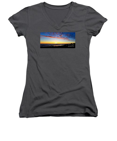 Women's V-Neck T-Shirt (Junior Cut) featuring the photograph Old A's Panorama by David Lawson
