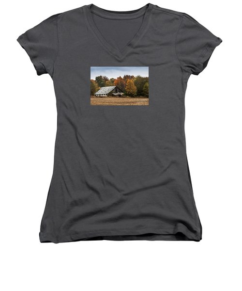 Women's V-Neck T-Shirt (Junior Cut) featuring the photograph Old Barn by Debbie Green