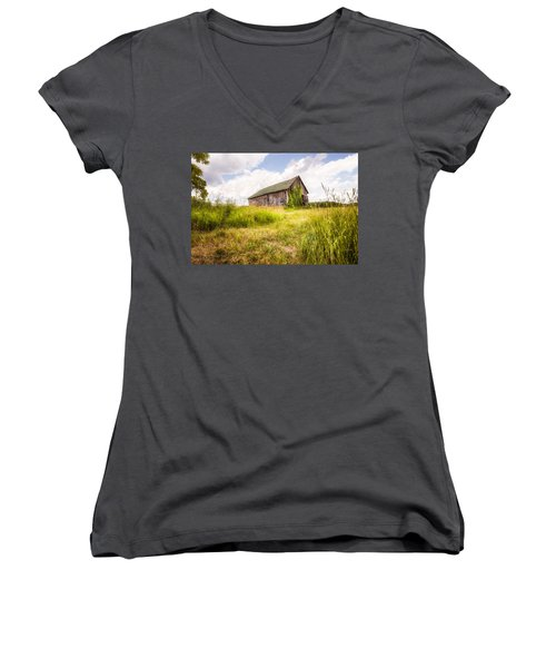 Women's V-Neck T-Shirt (Junior Cut) featuring the photograph Old Barn In Ontario County - New York State by Gary Heller