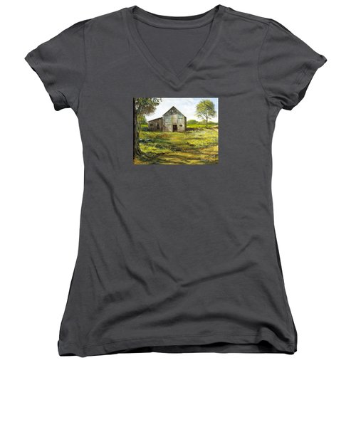 Women's V-Neck T-Shirt (Junior Cut) featuring the painting Old Barn by Lee Piper