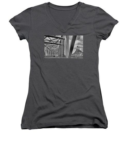 Women's V-Neck T-Shirt (Junior Cut) featuring the photograph Old Bridge New Bridge by Janette Boyd