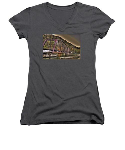 Old Bridge Over Lake Women's V-Neck T-Shirt (Junior Cut) by Jonny D