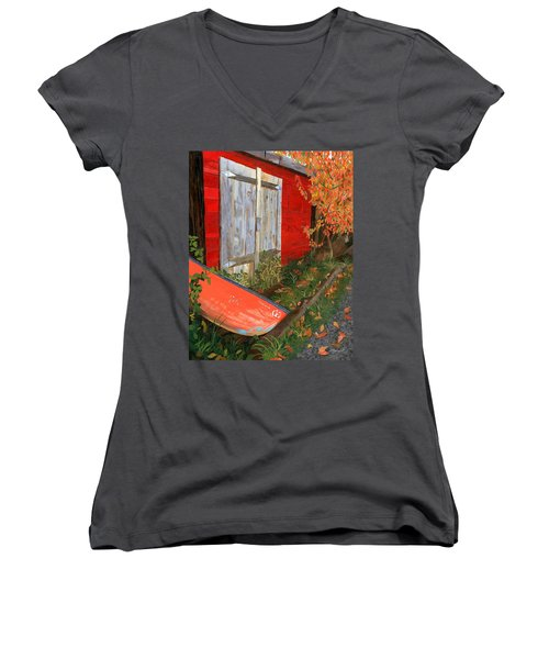 Women's V-Neck T-Shirt (Junior Cut) featuring the painting Old Canoe by Lynne Reichhart