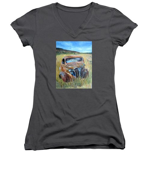 Women's V-Neck T-Shirt (Junior Cut) featuring the painting Old Car by Jieming Wang