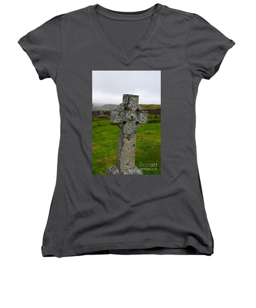 Old Cemetery Stones In Scotland Women's V-Neck T-Shirt