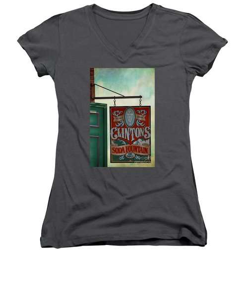 Old Clinton's Soda Fountain Sign Women's V-Neck T-Shirt