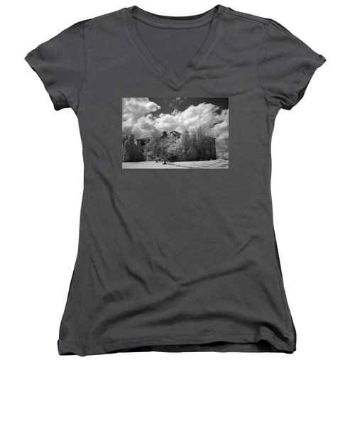 Women's V-Neck T-Shirt (Junior Cut) featuring the photograph Old Coast Guard Barracks On Winter Island by Jeff Folger