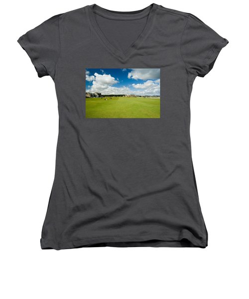 Old Course Fairways Women's V-Neck T-Shirt (Junior Cut) by Jeremy Voisey