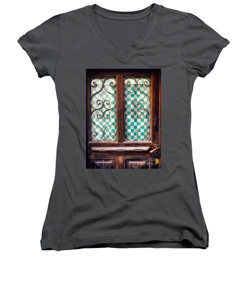 Women's V-Neck T-Shirt (Junior Cut) featuring the photograph Old Door by Silvia Ganora