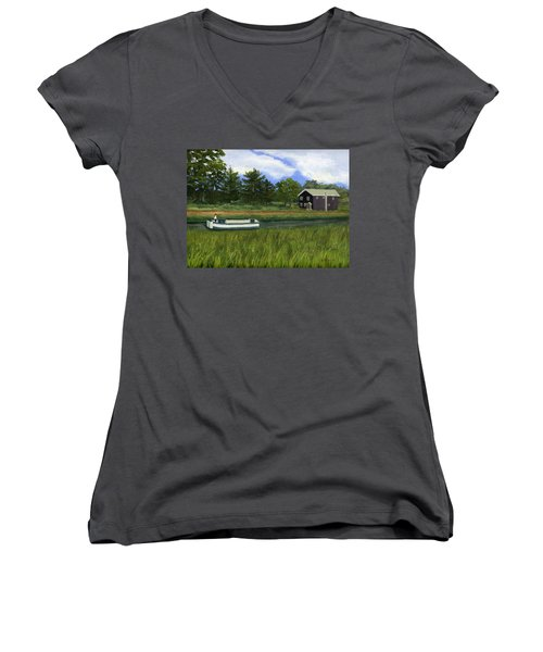 Women's V-Neck T-Shirt (Junior Cut) featuring the painting Old Erie by Lynne Reichhart