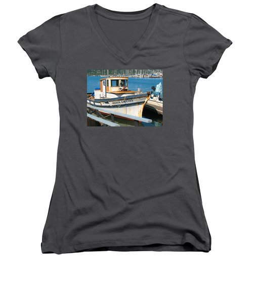 Old Fishing Boat In Sausalito Women's V-Neck T-Shirt (Junior Cut) by Connie Fox