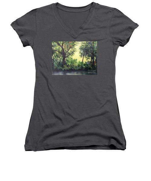 Women's V-Neck T-Shirt (Junior Cut) featuring the painting Old Florida 2 by Mary Lynne Powers