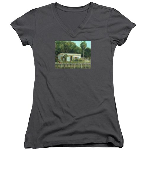 Old Florida Fish Camp And Marina Women's V-Neck (Athletic Fit)