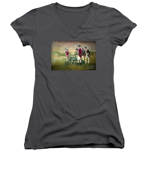 Women's V-Neck T-Shirt (Junior Cut) featuring the digital art Old Fort Niagara by Lianne Schneider