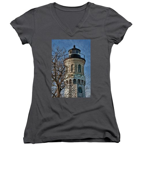 Women's V-Neck T-Shirt (Junior Cut) featuring the photograph Old Fort Niagara Lighthouse 4484 by Guy Whiteley