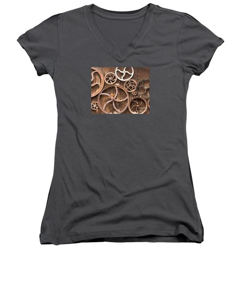Old Gears In Genoa Nevada Women's V-Neck T-Shirt (Junior Cut) by Artist and Photographer Laura Wrede