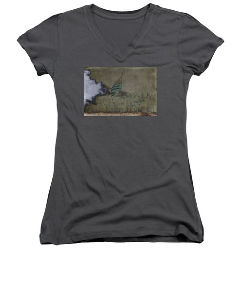 Old Glory Standoff Women's V-Neck T-Shirt (Junior Cut) by Wes and Dotty Weber