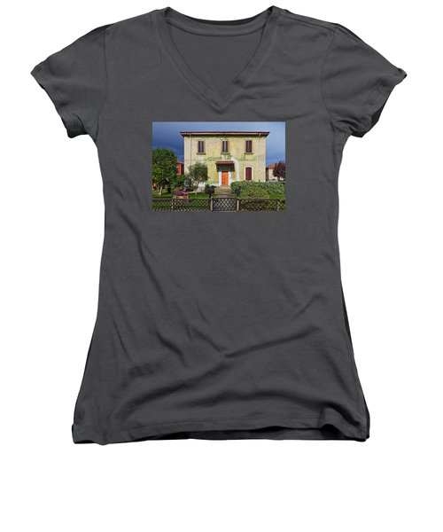 Old House In Crespi D'adda Women's V-Neck (Athletic Fit)