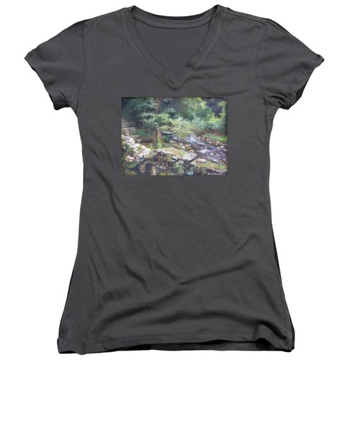 Women's V-Neck T-Shirt (Junior Cut) featuring the painting Old Mill Steam II by Lori Brackett