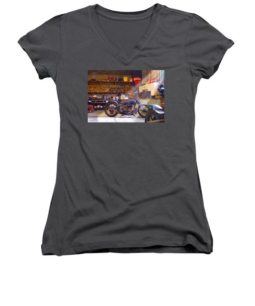 Old Motorcycle Shop 2 Women's V-Neck T-Shirt (Junior Cut) by Mike McGlothlen