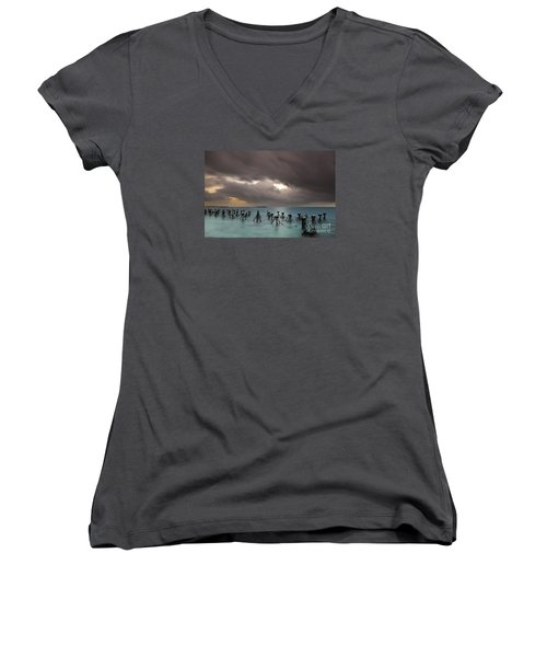 Old Pier In The Florida Keys Women's V-Neck T-Shirt (Junior Cut) by Keith Kapple
