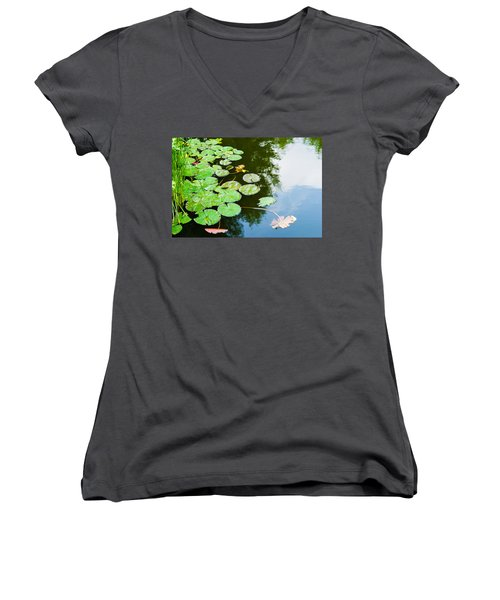 Old Pond - Featured 3 Women's V-Neck T-Shirt (Junior Cut) by Alexander Senin