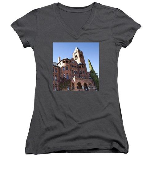 Women's V-Neck T-Shirt (Junior Cut) featuring the photograph Old Preston Castle by David Millenheft