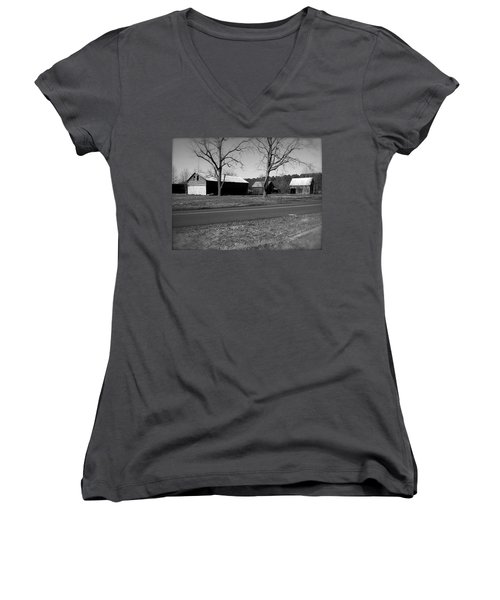 Old Red Barn In Black And White Women's V-Neck T-Shirt (Junior Cut) by Amazing Photographs AKA Christian Wilson