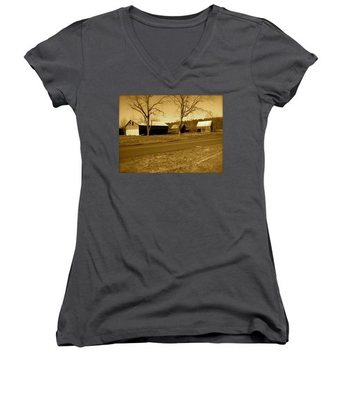 Old Red Barn In Sepia Women's V-Neck T-Shirt (Junior Cut) by Amazing Photographs AKA Christian Wilson