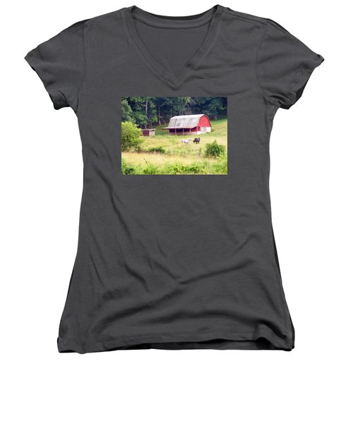 Old Red Barn West Of Brevard Nc Women's V-Neck