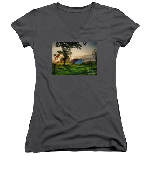 Old Shed Women's V-Neck T-Shirt (Junior Cut) by Savannah Gibbs