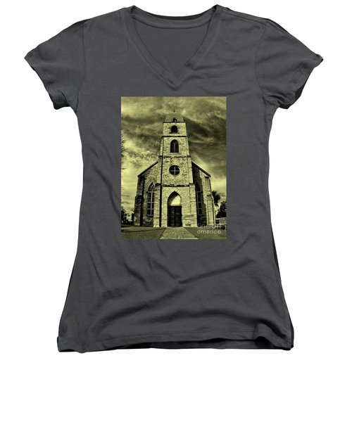 Old St. Mary's Church In Fredericksburg Texas In Sepia Women's V-Neck (Athletic Fit)