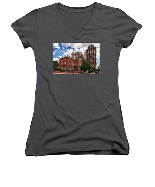 Old State House Women's V-Neck T-Shirt (Junior Cut) by Guy Whiteley