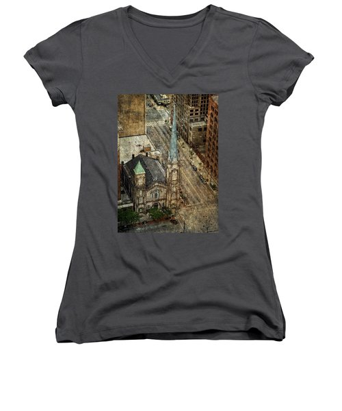 Women's V-Neck featuring the photograph Old Stone Church by Dale Kincaid
