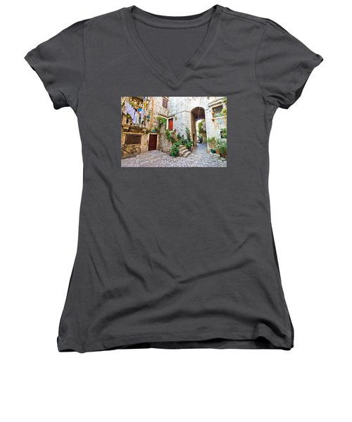 Old Stone Street Of Trogir Women's V-Neck T-Shirt (Junior Cut) by Brch Photography