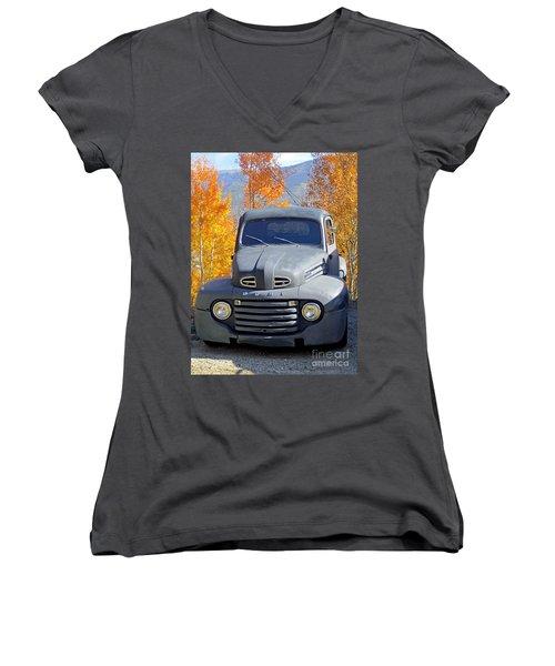 Old Time Fun Women's V-Neck T-Shirt (Junior Cut) by Fiona Kennard