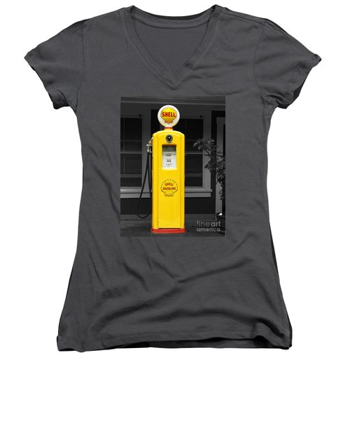 Women's V-Neck T-Shirt (Junior Cut) featuring the photograph Old Time Gas Pump by David Lawson