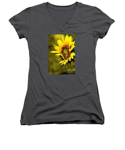 Old Time Sunflower Women's V-Neck T-Shirt