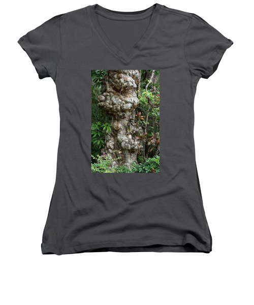 Women's V-Neck T-Shirt (Junior Cut) featuring the mixed media Old Tree by Rafael Salazar