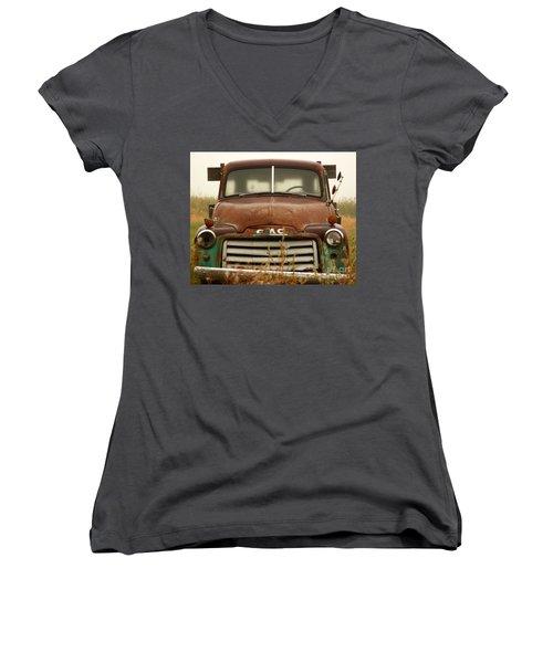 Old Truck Women's V-Neck T-Shirt (Junior Cut) by Steven Reed
