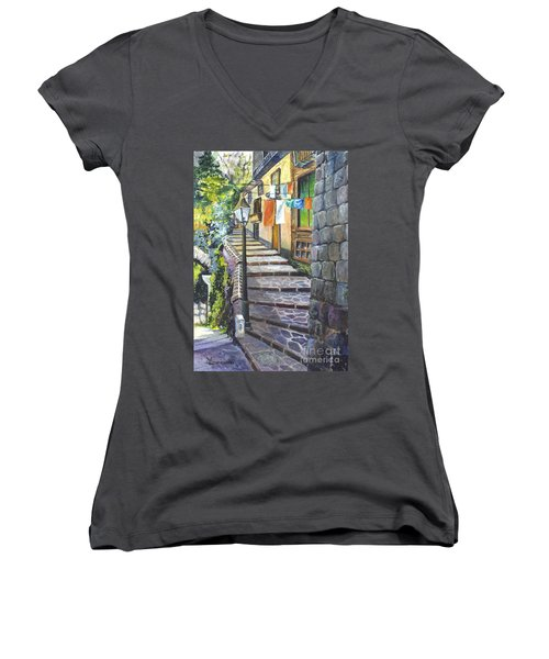 Old Village Stairs - In Tuscany Italy Women's V-Neck T-Shirt (Junior Cut) by Carol Wisniewski