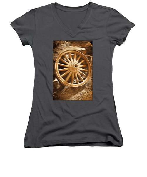 Women's V-Neck T-Shirt (Junior Cut) featuring the mixed media Wheels West by Aaron Berg