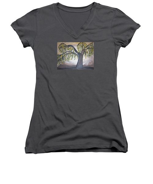 Old Willow Women's V-Neck T-Shirt (Junior Cut) by Cathy Anderson