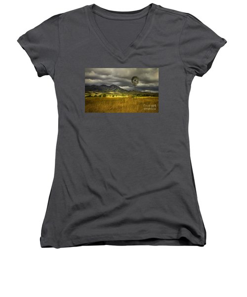 Old Windmill Women's V-Neck T-Shirt (Junior Cut) by Robert Bales