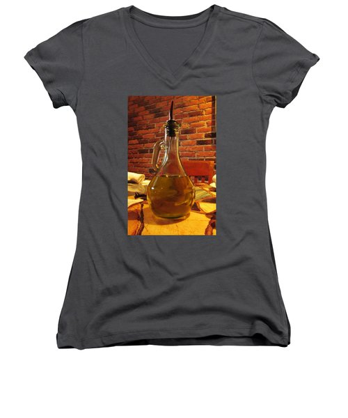 Women's V-Neck T-Shirt (Junior Cut) featuring the photograph Olive Oil On Table by Cynthia Guinn