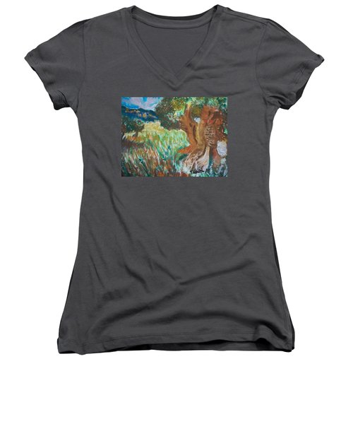 Women's V-Neck T-Shirt (Junior Cut) featuring the painting Olive Trees by Teresa White