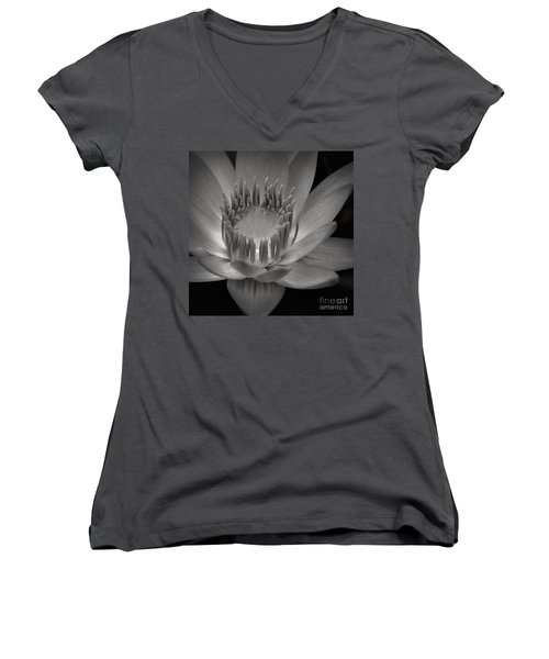 Om Mani Padme Hum Hail To The Jewel In The Lotus Women's V-Neck T-Shirt (Junior Cut) by Sharon Mau