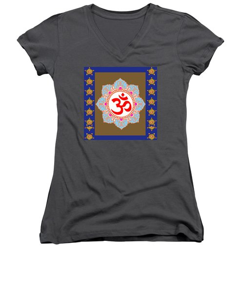 Women's V-Neck T-Shirt (Junior Cut) featuring the photograph Om Mantra Ommantra Chant Yoga Meditation Tool by Navin Joshi
