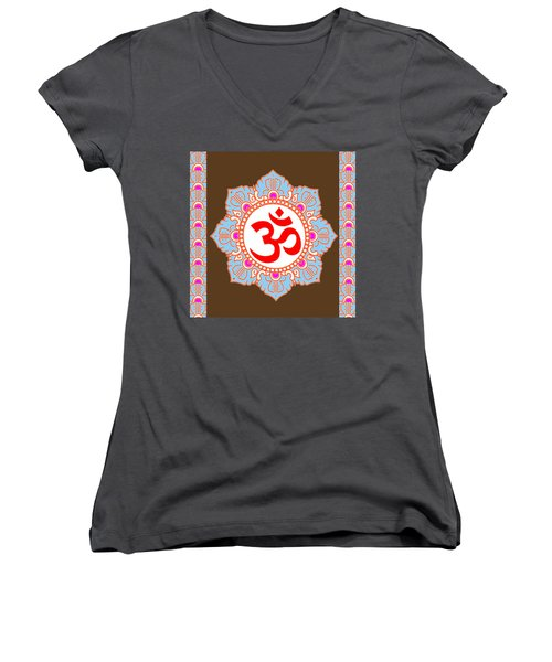 Women's V-Neck T-Shirt (Junior Cut) featuring the photograph Om Mantra Ommantra by Navin Joshi
